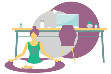 girl doing yoga sitting in lotus position in the office. The girl meditates. Modern flat design concept of yoga. Bright vector illustration isolated on white background.