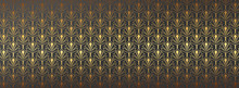 Luxury Wallpaper Vector. Golden Fabric Design Texture With 17:9 Size. Art Decoration With Geometric Pattern Consisting Of Lines, Trendy Style Background For Wrapping Paper, Cover Background And Print.