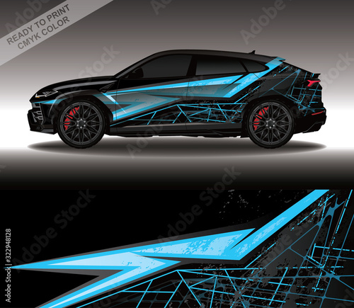 Car wrap decal design vector, custom livery race rally car vehicle sticker and tinting Fototapet
