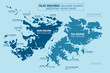 Falkland Islands political map, England, United Kingdom. Islas Malvinas, Argentina. Vector illustration.