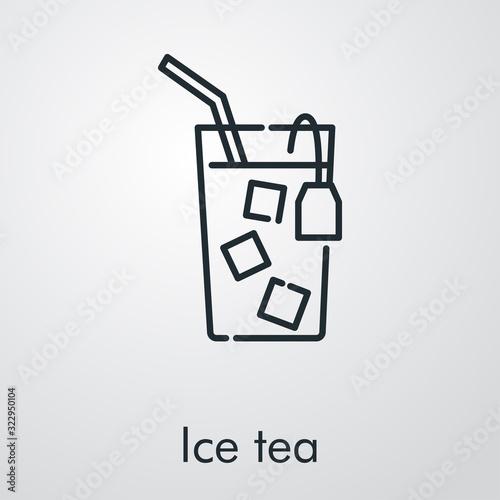 Icono plano lineal té helado en fondo gris