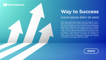 Business Arrow Target Direction Concept To Success. Way To Success - Web Template. Applicable For Promotion , Cover Poster, Infographic, Landing Page, UI, UX, Persentation, Baner, Social Media Poster.