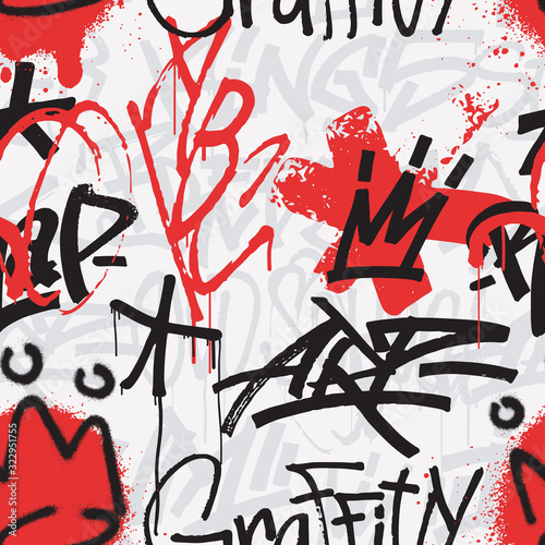 Graffiti seamless pattern in black and red color isolated on white background Canvas Print