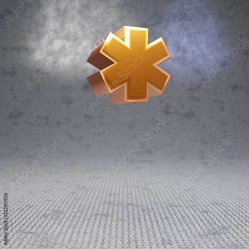 Golden asterisk symbol on metal textured background. Canvas Print