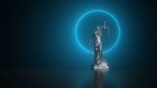 Lady Justice Statue With A Nimbus On The Table. 3d Illustration.