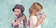 canvas print picture - Kinder spielen - telefonieren mit Blechdosen