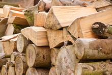 Close-up Of A Heap Of Firewood...