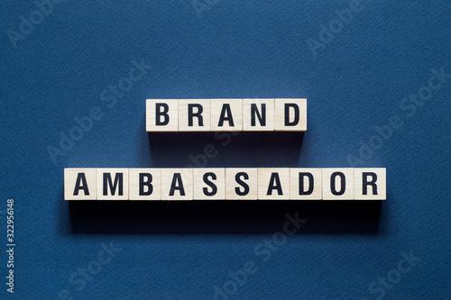 Photo Brand Ambassador word concept on cubes