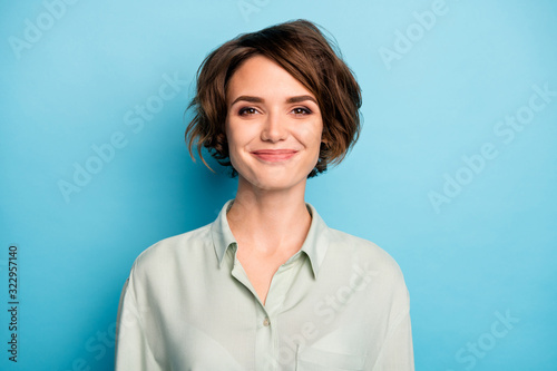 Closeup photo of attractive cute business lady short bob hairstyle smiling good Canvas