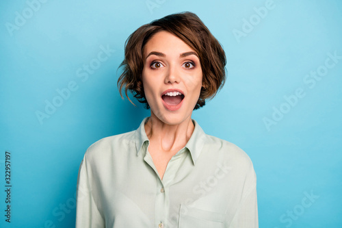 Closeup photo of attractive business lady short bob hairstyle good mood open mou Fotobehang