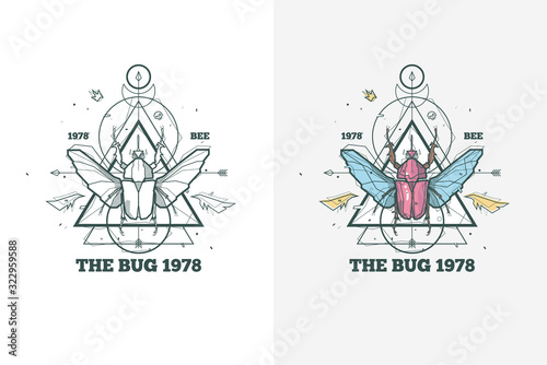 Vintage insect bug illustration with sacred geometry and lettering Tableau sur Toile