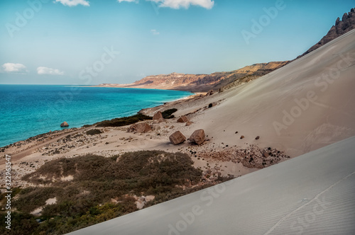 Top view from a sand dune on the coast of the Indian Ocean Wallpaper Mural