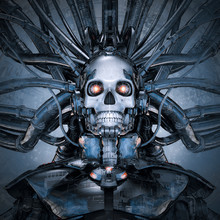 Terminal Data Stream / 3D Illustration Of Science Fiction Cyberpunk Skull Faced Robot Connected To Computer Core