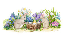 Easter Bunny And Mouse With A Chick And Eggs In Basket Watercolor Illustration. Hand Drawn Festive Image With Spring Flowers. Sweet Holiday Greeting Or Celebration Card Picture.