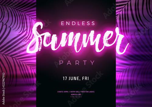Fototapeta Dark purple neon tropical summer party flyer with copy space