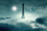 Fototapeta Fototapety z wieżą Eiffla - Night with Moon and Eiffel tower in Paris