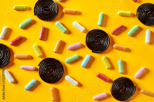 Background pattern of candy suns Wallpaper Mural