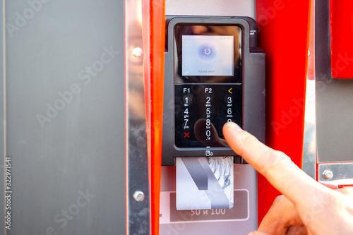 Fototapeta payment panel in a street vending machine obraz