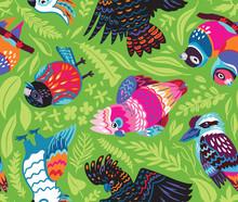 Decorative Australian Birds Seamless Pattern In Vector