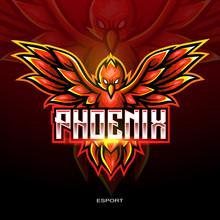 Red Phoenix Bird Mascot Logo For Electronic Sport Gaming Logo.