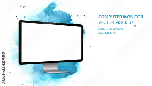 Fototapeta Computer Monitor Vector Mockup With Perspective View