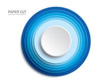 3d Blue Button Shapes On White...