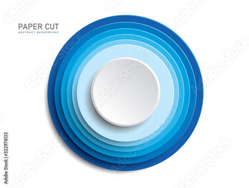 Obraz na plátne 3d blue button shapes on white background in paper cut style