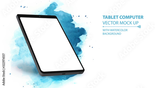 Tablet Computer Vector Mockup With Perspective View Canvas Print