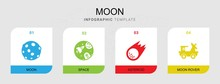 4 Moon Filled Icons Set Isolat...