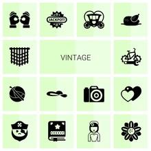 14 Vintage Filled Icons Set Is...