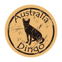 Australian Wild Dog Dingo Silhouette Icon Round Shabby Emblem Design Old Retro Style. Dingo In Full Growth Logo Mail Stamp On Craft Paper Vintage Grunge Sign. Fauna Australia Desert Predatory Animal.