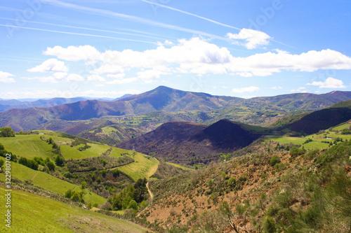 Vászonkép panorama in galicia spain mountains view camino de santiago road
