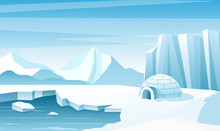 Arctic Landscape With Ice Iglo...