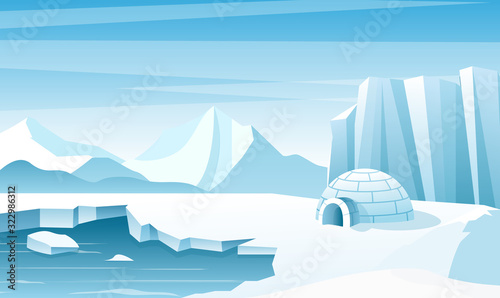 Fototapeta Arctic landscape with ice igloo flat vector illustration. House, hut built of snow. Ice mountains peaks. Eskimo people shelter inhabit. Big iceberg. Snowy north pole winter nature view. obraz