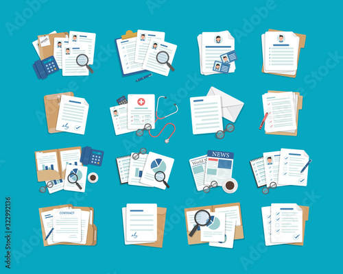 set of document icons,Paper iconFolder icons set,flat design icon vector illustration - fototapety na wymiar