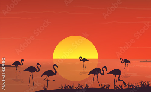 Naklejki Flamingi  flamingo-silhouette-at-sunset-landscape-on-lake-scene-vector