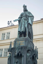 The Statue Of Charles IV Is An Outdoor Sculpture Of Charles IV, Holy Roman Emperor, Located At Krizhovnicke Square In Prague, Czech Republic.