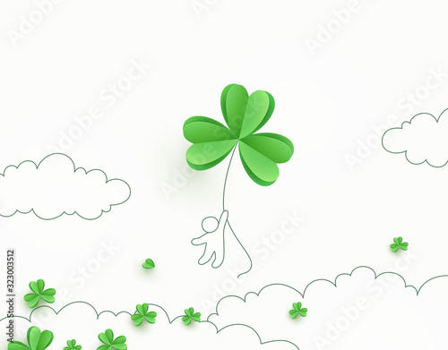 Shamrock flying green leaves banner Poster Mural XXL