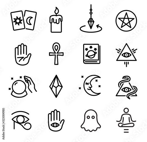 Fotomural Occultism and Spiritism Icons Set
