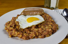 Corn Beef Hash With Fried Egg  And Sausage