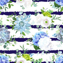 Blue And White Summer Flowers Seamless Vector Design Print.
