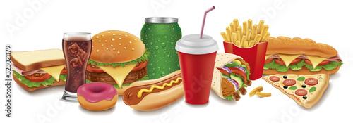fast food items-hamburger, fries, hotdog, drinks, sandwich, baguette,pizza, tortilla wrap, donut