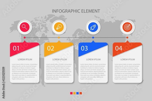 Presentation business infographic template with 4 options Wallpaper Mural