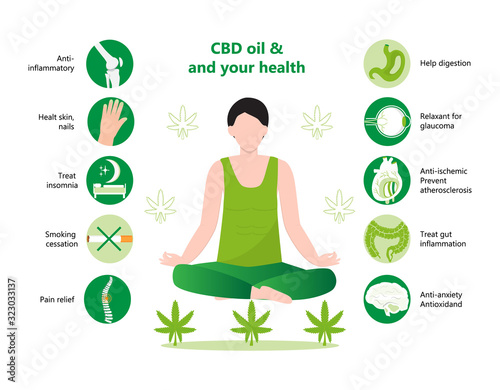 Fototapeta CBD oil benefits lists infographic vector. Human relaxing in lotus yoga pose. Advantages of medical marijuana, cannabinoids medicinal drugs. Joint, acne, insomnia icons obraz