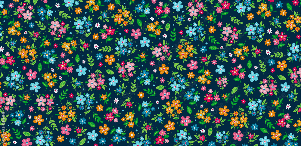 Fototapeta Colorful ditsy floral background. Vector Illustration. Hand Drawn Ditsy Floral Background. Colorful Flowers Background.