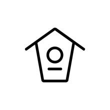 Bird House Icon Vector. Thin L...