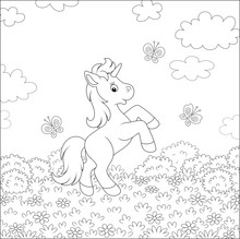 Little Magical Unicorn Dancing With Funny Butterflies Among Wild Flowers On A Summer Field On A Warm Sunny Day, Black And White Vector Cartoon Illustration For A Coloring Book Page