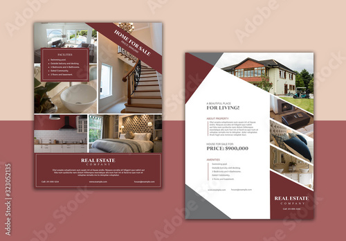 Fototapeta Flyer Layout with Dark Red Accents obraz