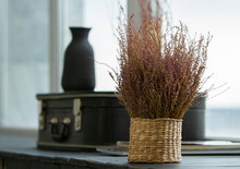Bouquet Of Dried Flowers On The Windowsill