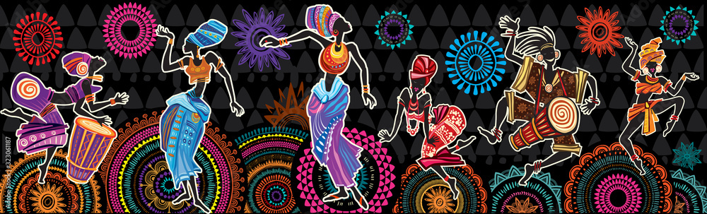 Fototapeta Dancing people on Ethnic background with African motifs
